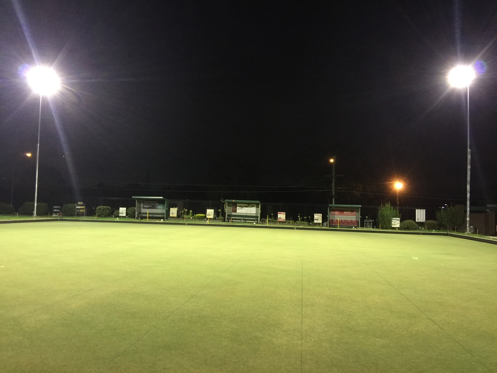 Our new lights on our middle green are now up and running!