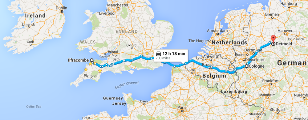 Ilfracombe to London London to Brussels Brussels to Cologne Cologne to Detmold