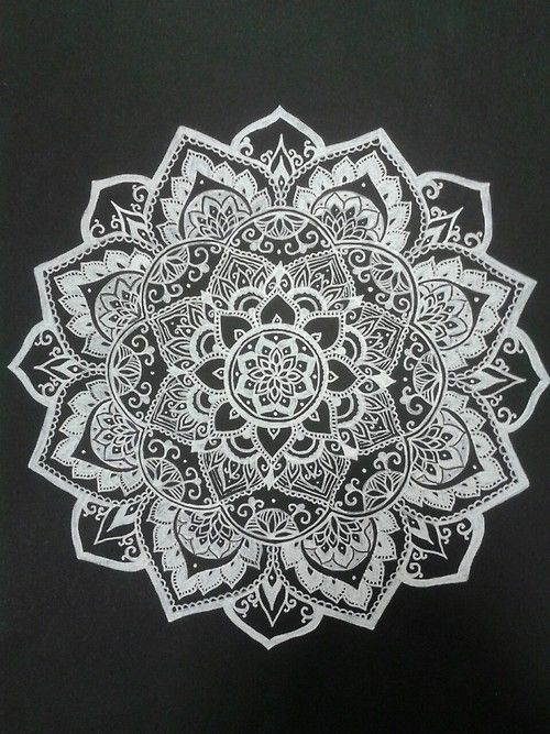 white on black mandala