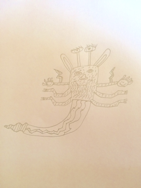 this is my avatar. Its called Ogar Snake. he can shoot thunder if he is angry. He gives wishes if you are good. And he is mostly happy. He has four hands and one rattle snake tail. When he gives wishes, he rattles his rattlesnake tail and BAM! the people got shot by thunder get bad luck. The top arms are  good luck charms for making good wishes - it makes everyone feel really good and they will never get attacked by anything - all your wishes will come true. But if you are bad, your wish will turn to its opposite. The ears hear very well - they can even hear dirt, or a falling tree from the other side of the world. The eyes hypnotise you - because they make circles, and they make the people feel better about yourself.