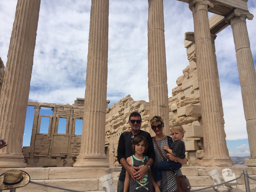 we went to this famous structure called the Acropolis. it sits on a hill above Athens. It's a really good view and Hugo kept throwing rocks everywhere.