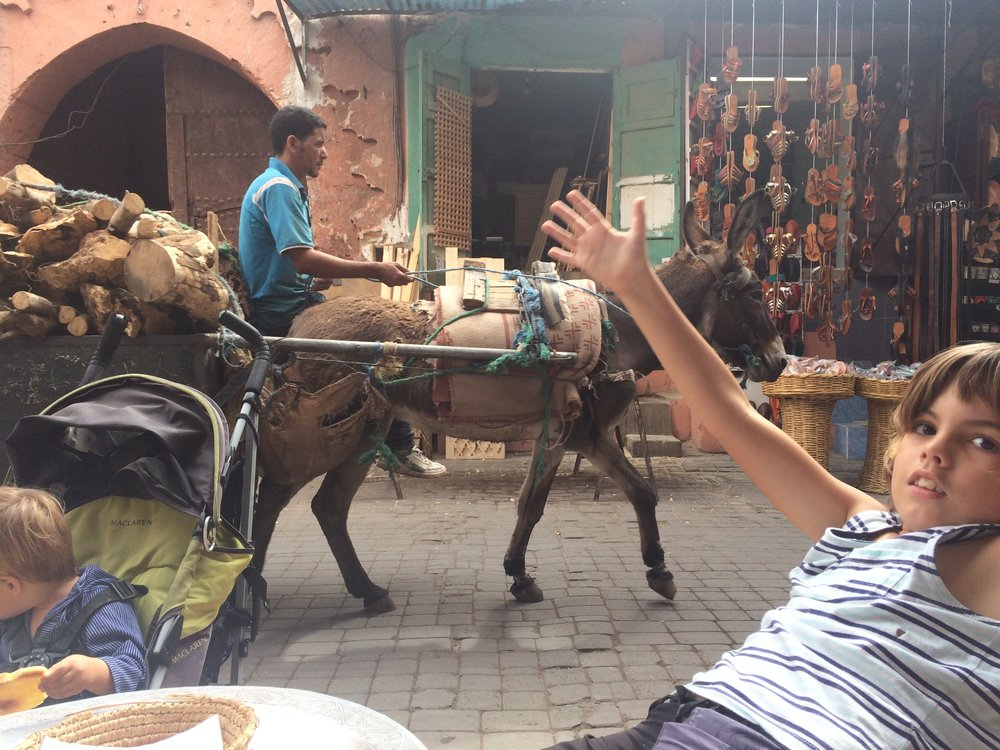 we had a snack and it was very yummy. People use a lot of donkeys and mules to carry stuff in the markets, because no cars are allowed. But bikes go through, and sometimes they go very fast, I reckon it could get really dangerous.