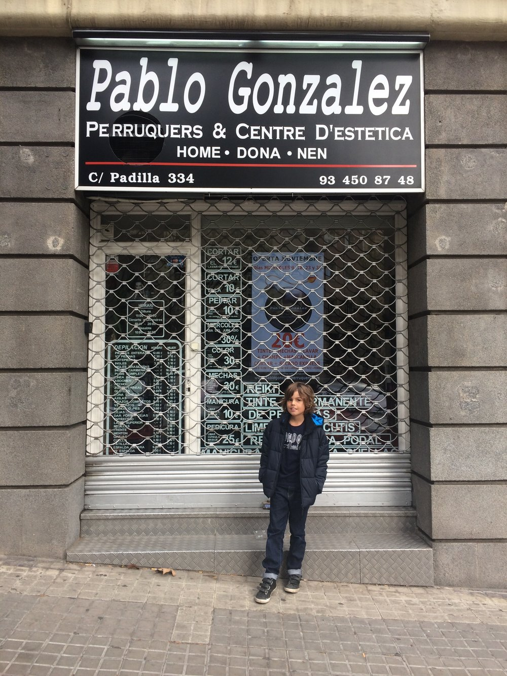 when we looked through Barcelona we found this shop what had this sign saying Pablo because it is a Spanish name.