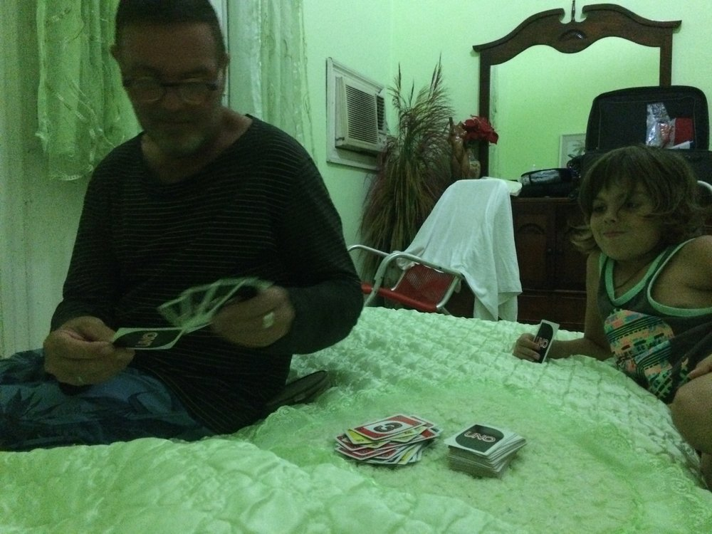every night we played UNO which was fun but hugo has to go to bed. But he just watches us play. We usually go to bed at 9:30. but i didn't like losing. I like to win. I like to play uno.