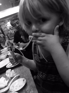 this is when we were in a Japanese restaurant the food was the best but hugo gets so messy.