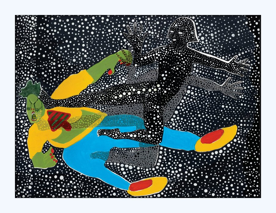 """Spacia Tanno - A Dream That Became a Reality and Spread Throughout the Stars."" Acrylic on Paper, 2015 18 X24 inches."