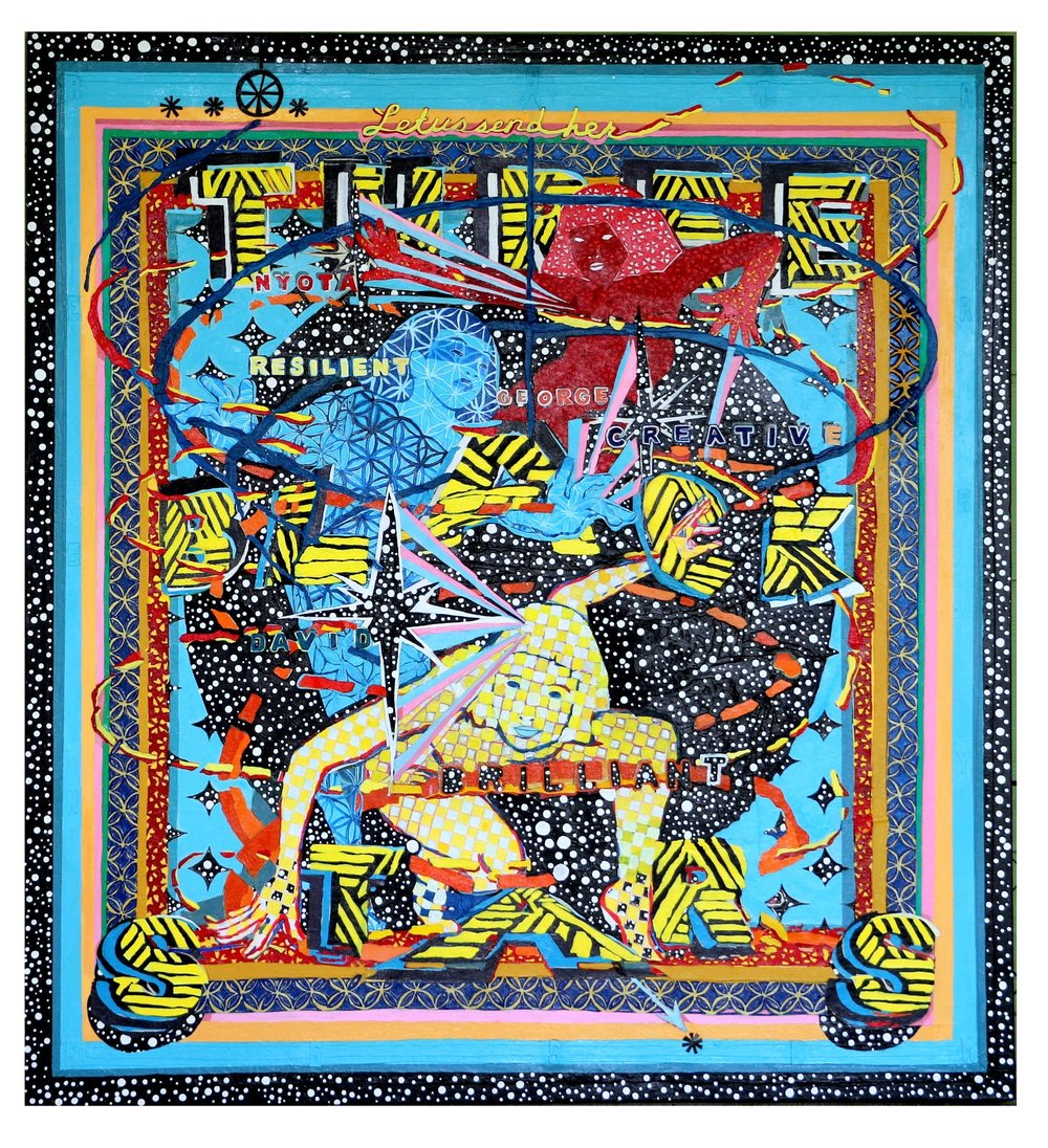 """""""Three Black Stars: Resilient, Brilliant & Creative"""", 2016, cut acrylic painting and paper adhered to canvas. """""""