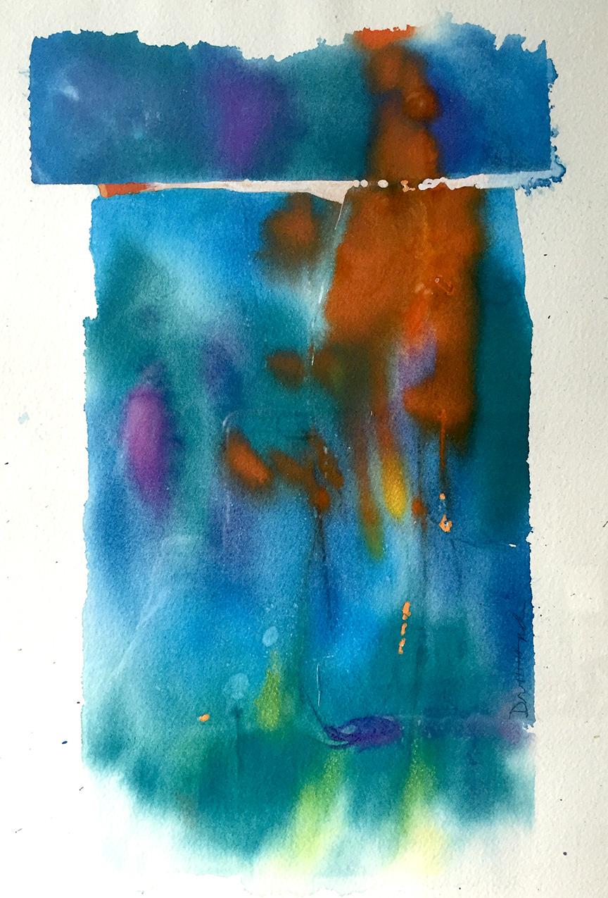 "Blue Cairn  9 x 14"" Gouache on Paper"