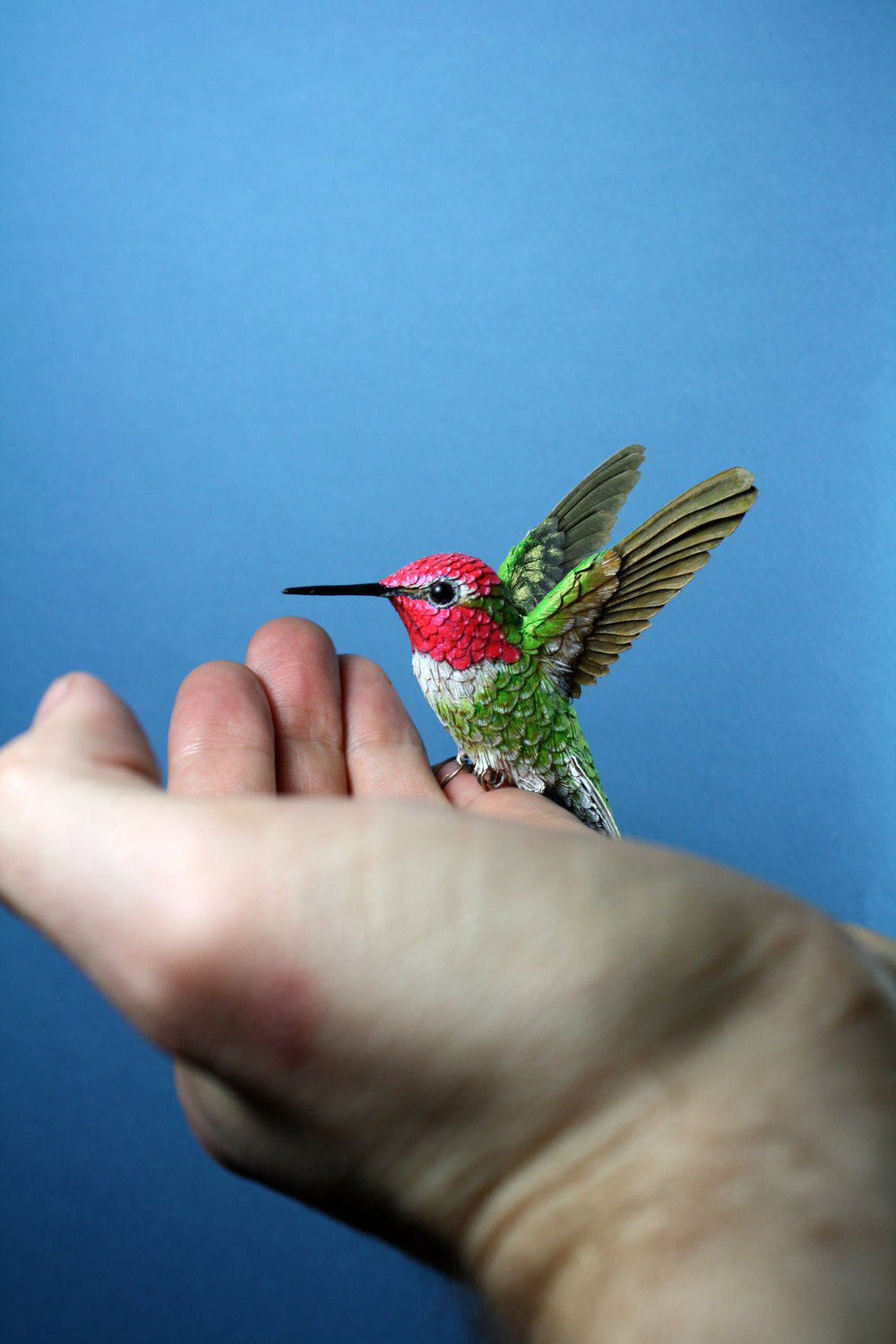 All the hummingbirds are designed and made to be life size.