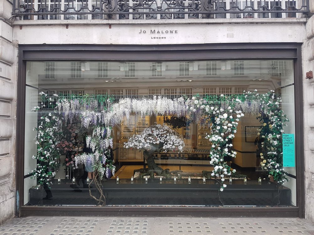 Main window display handmade from paper at Jo Malone London on Regent street.