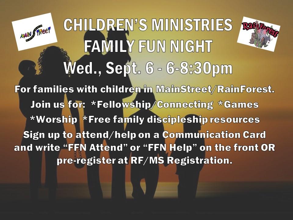 Grace Children's Ministries Family Fun Night — Grace Church