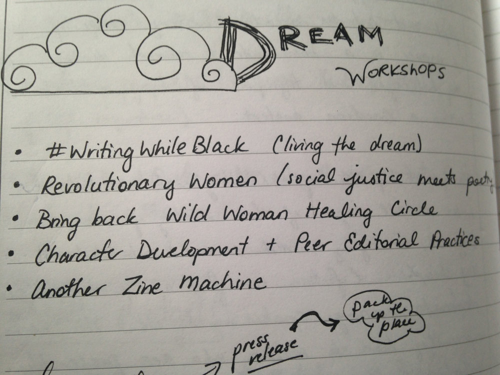 Writing While Black isn't my only dream workshop. I've actually done the Character Development workshop three times and done the Zine Machine workshop at least five times