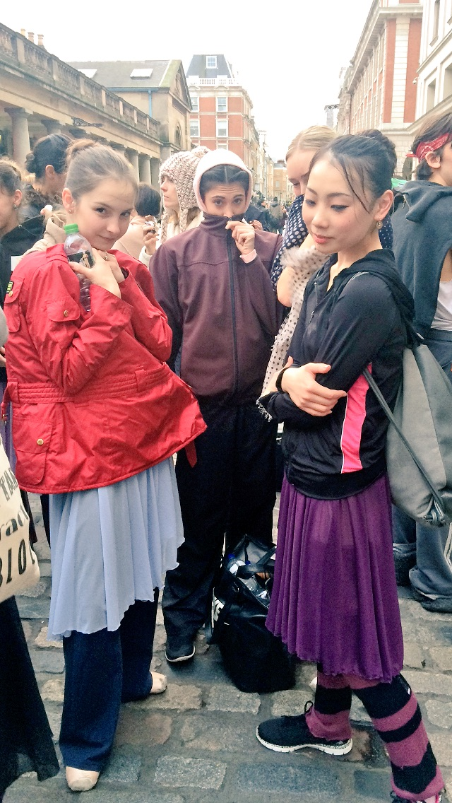 ASHLEY, YASMINE AND MARIKO WEARING BALLET SKIRTS UNDERNEATH THEIR STREET WEAR.