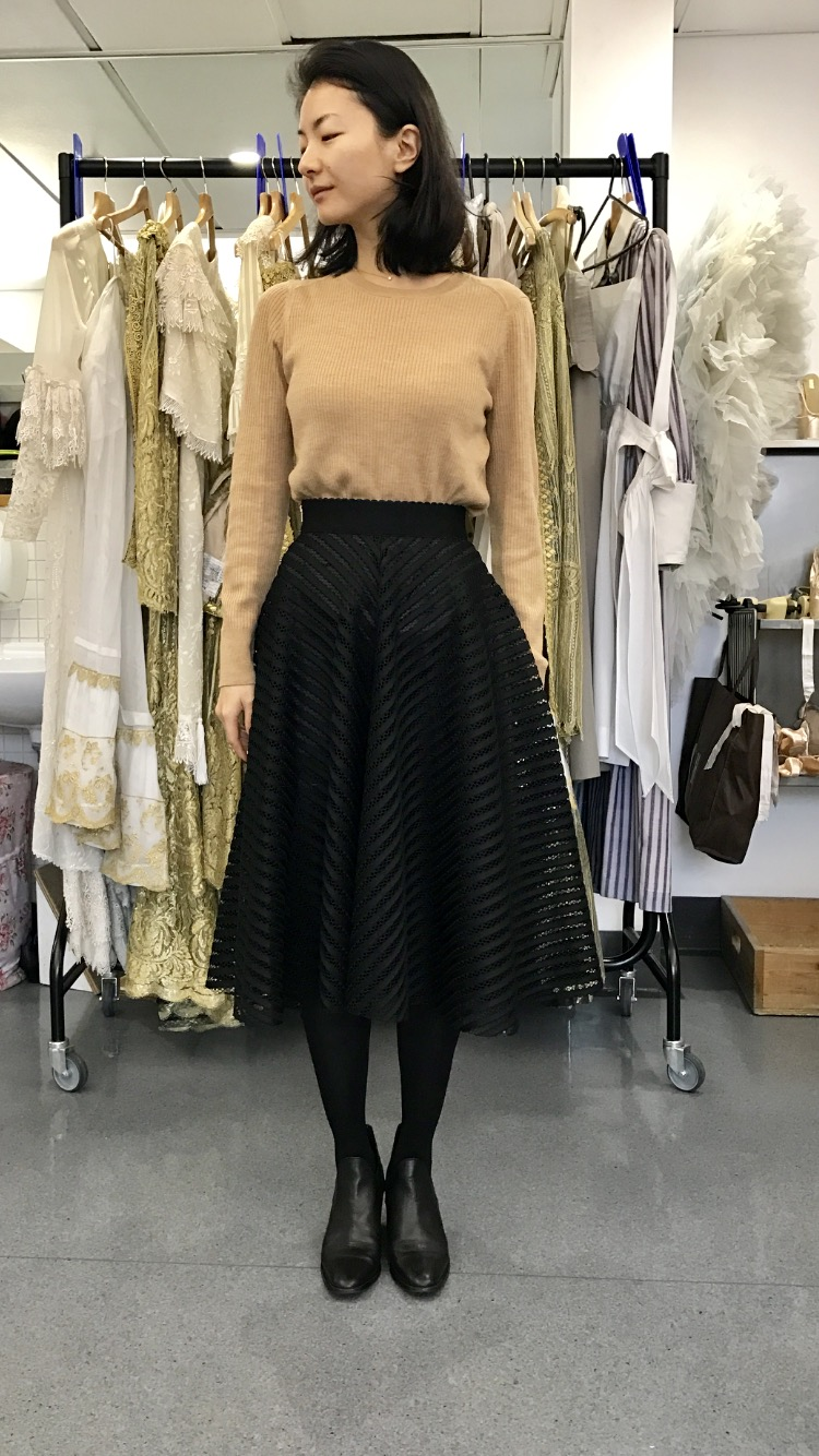 YUHUI  THE FOOTWEAR- Yuhui wears flat pixi boots to go with her preppy look -  m.zara.com   TOP-  www.bananarepublic.co.uk   SKIRT- Japanese vintage