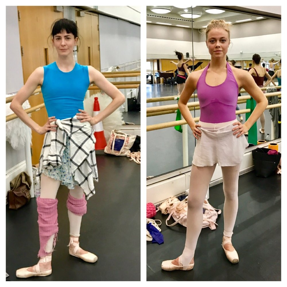 Me- How not to dress- leg warmers, a top around my waist. The look is messy.  Gina- How to dress ! It's a clean look, it shows her bod and she is wearing a bright pink leotard to stand out