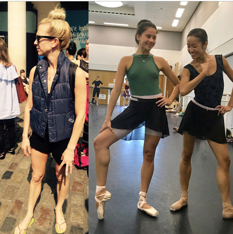 Sian in a high bun and flip flops, Leticia and Chi surviving the heat