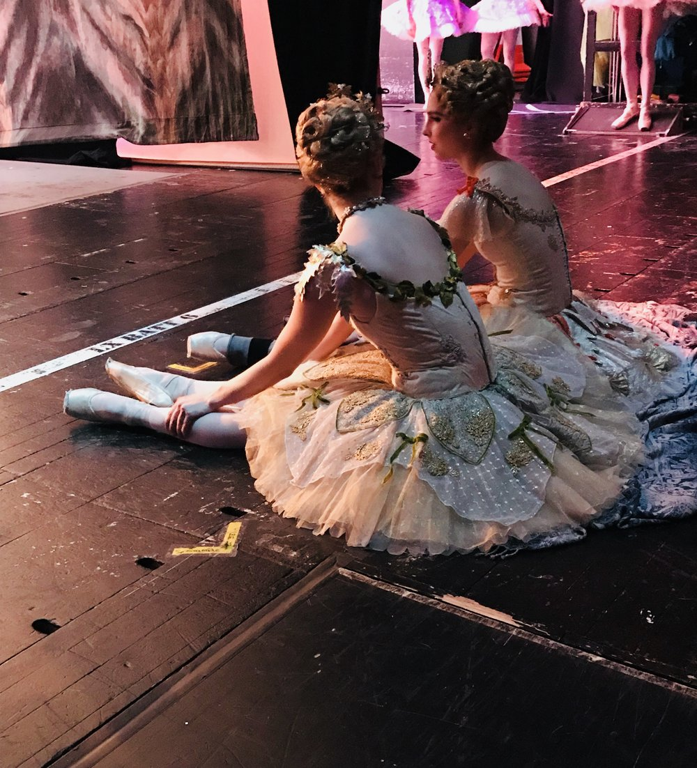 Charlotte and Ashley relaxing between diverts in Act two.