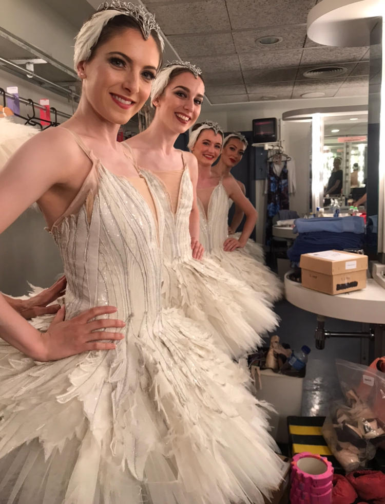DEMELZA, NATS, ANNA, AND TIERNEY AS SWANS
