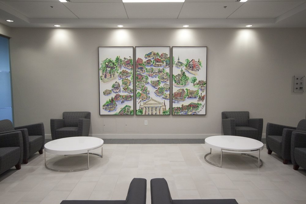 Downtown Athens with News Building Triptych    2015    Ink and watercolor on aluminum panels    6x9ft (3 panels, each 6ft tall x 3ft wide)    Located in lobby of One Press Place Building, 1 Press Pl, Athens, GA    Photo credit: Robert Lowery