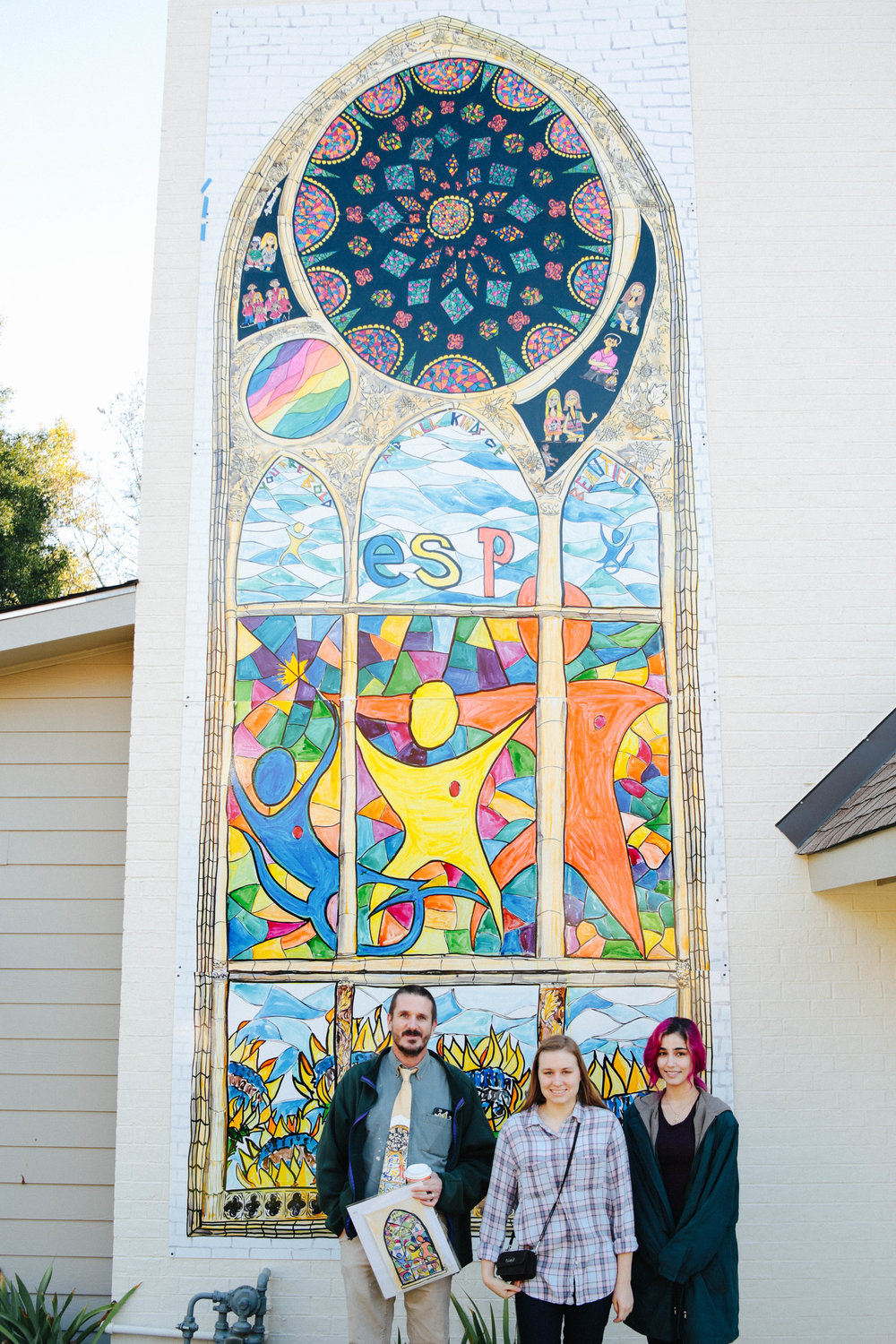 Extra Special People, Inc. Mural    2017    Jamie Calkin (lead artist), Deanna Dowlatpanah, Arezou Taeed, and ESP artist.    Waterproof Inks on aluminum panels    20 feet tall by 8 feet wide    Located 189 VFW Dr, Watkinsville, GA    Photo credit: The incredible Rachel Owart