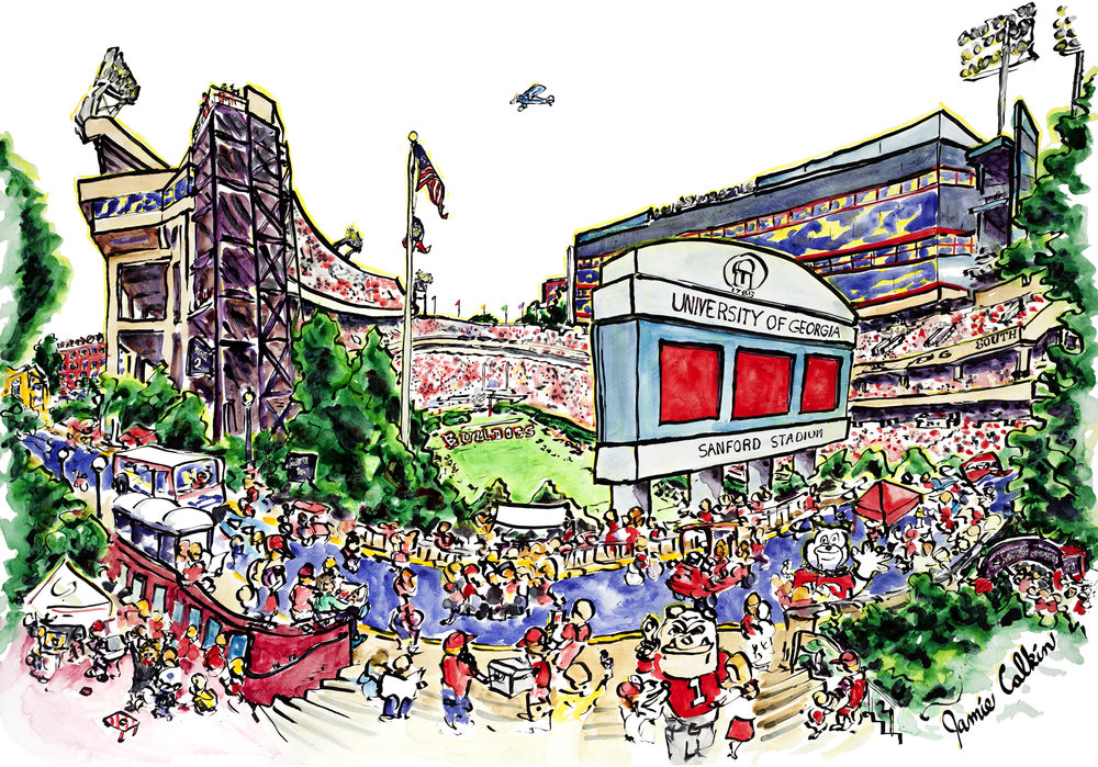 Sanford Stadium with Spike    2015    Ink and watercolor on aluminum panel    36x48in    Private collection