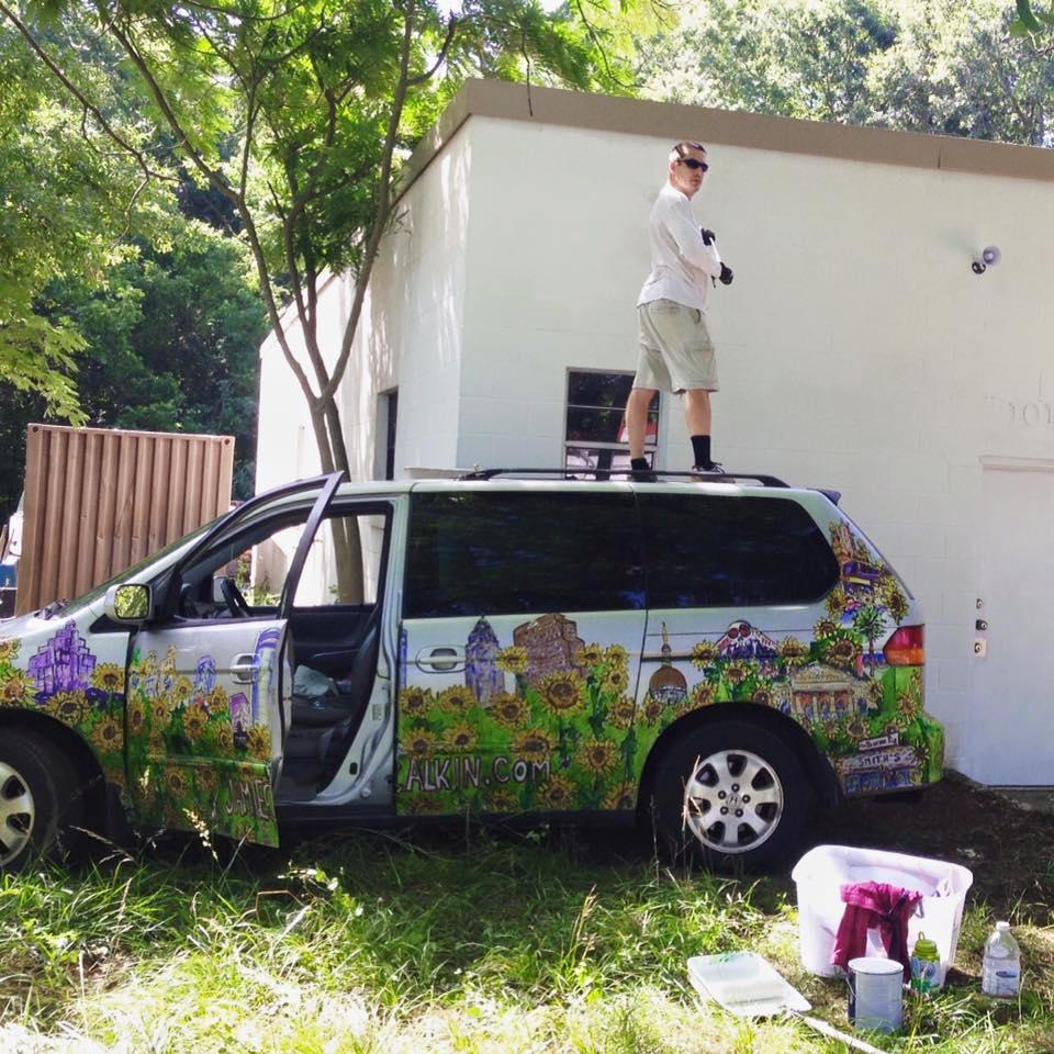 The Art Van  2015  Waterproof Inks on... a Honda Odyssey minivan  located on the roads of Athens, GA