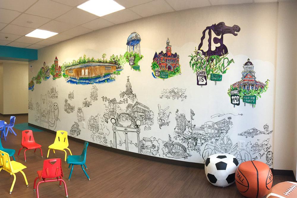Advantage Behavioral Mural  2017  Waterproof Ink  Jamie Calkin (lead artist) and Deanna Dowlatpanah