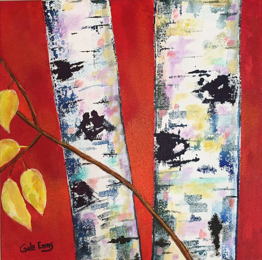 "September Birches  acrylic on canvas 12"" X 12"""