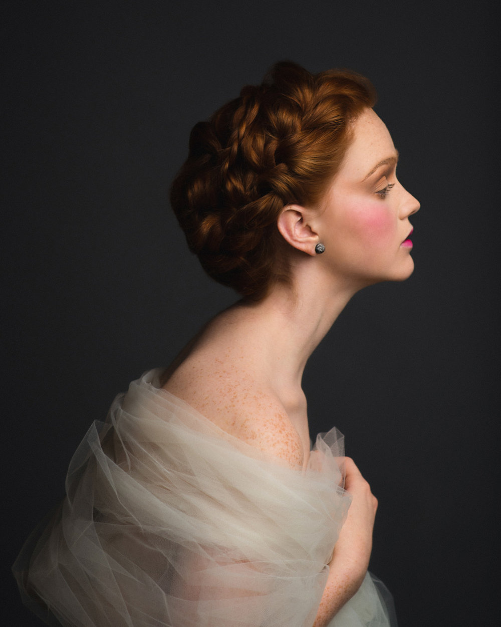 Romantic Victorian-inspired studio photo shoot with red haired model, by Sarah Hooker Photography