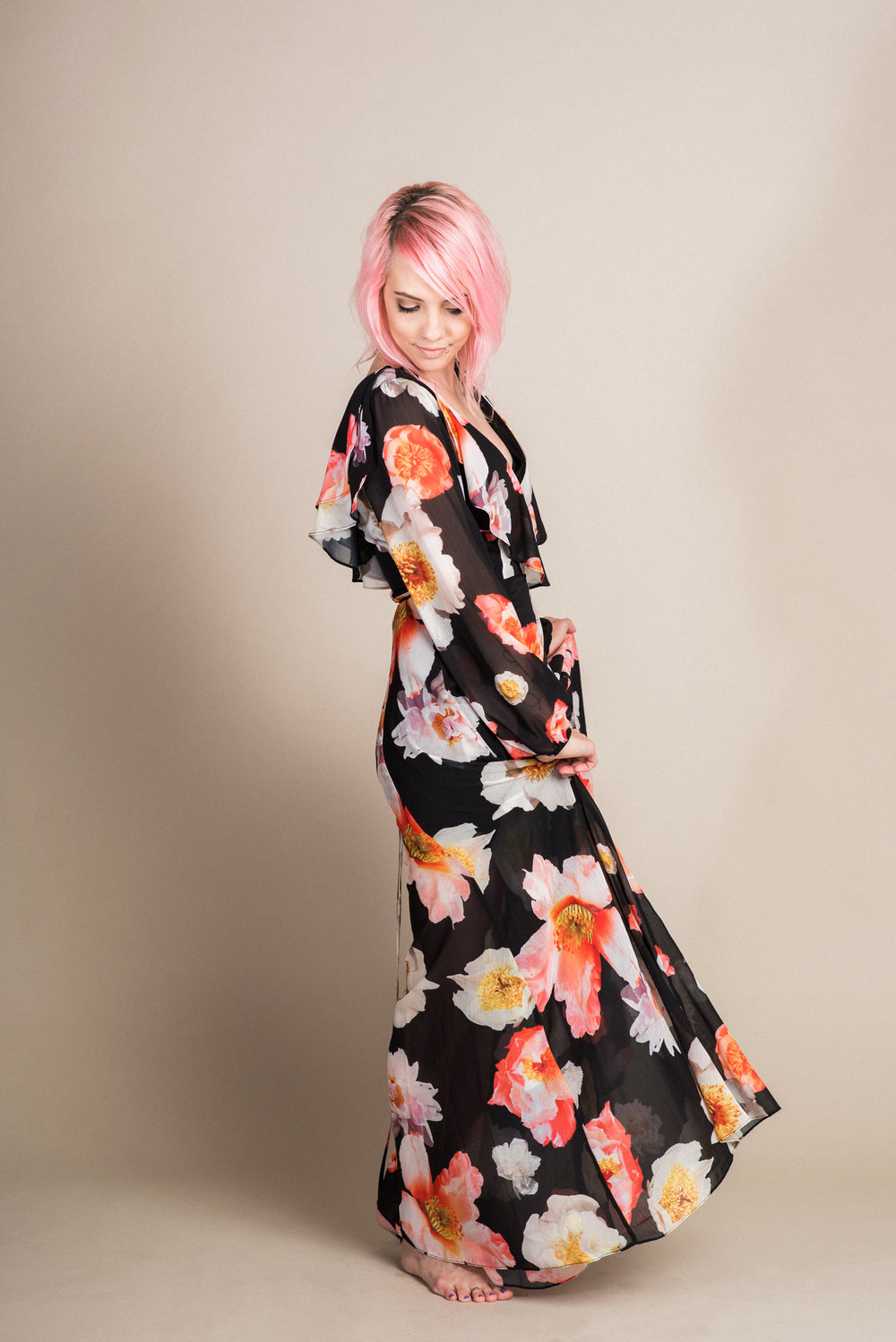 Floral Wrap Dress (XS/S) | Modeled by Laura