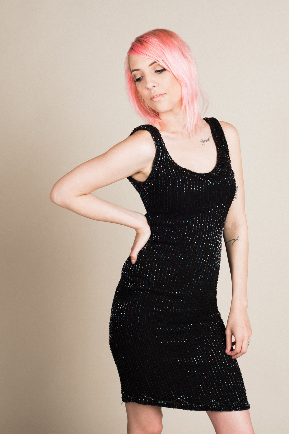 Vintage Beaded Dress (XS) | Modeled by Laura