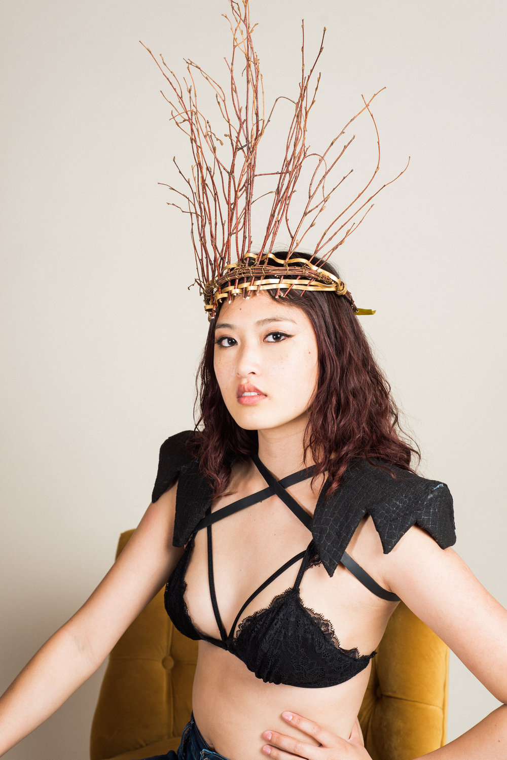 Bralette (S), Twig Crown, and Shoulder Pads | Modeled by Makenzy