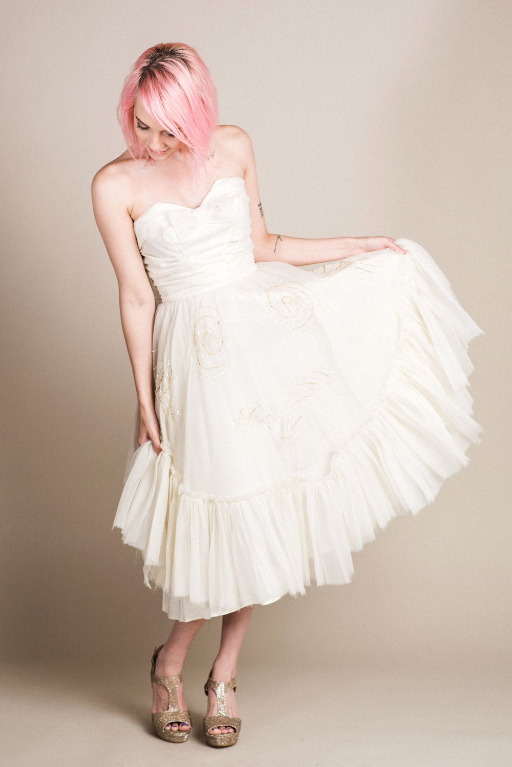 Vintage Beaded White Dress (XS) | Modeled by Laura