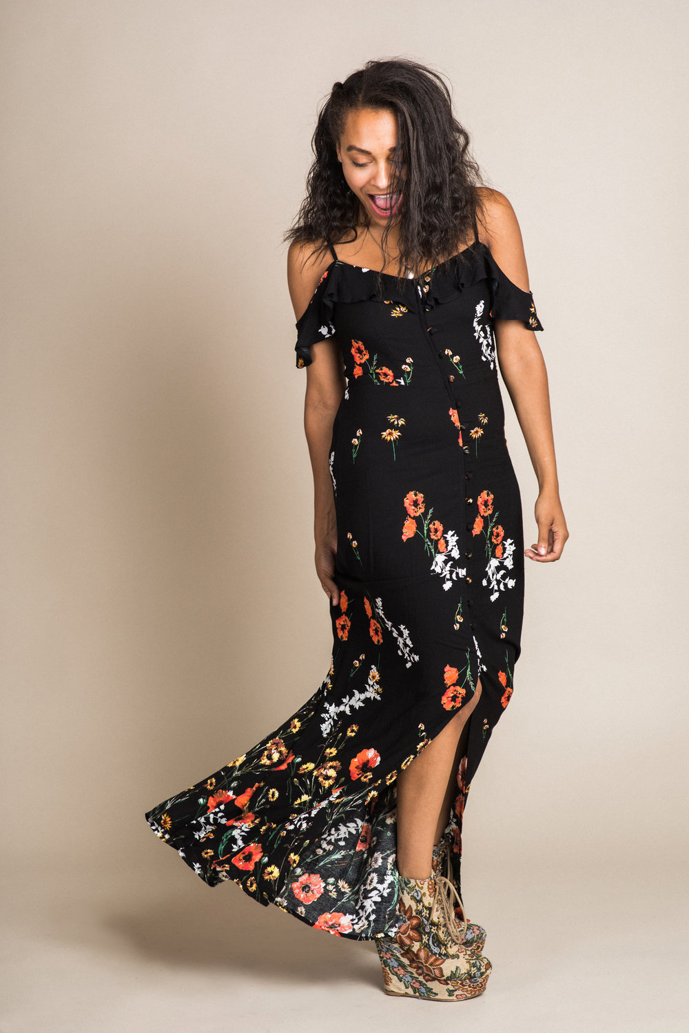 Floral Maxi Dress (S) | Modeled by Naomi