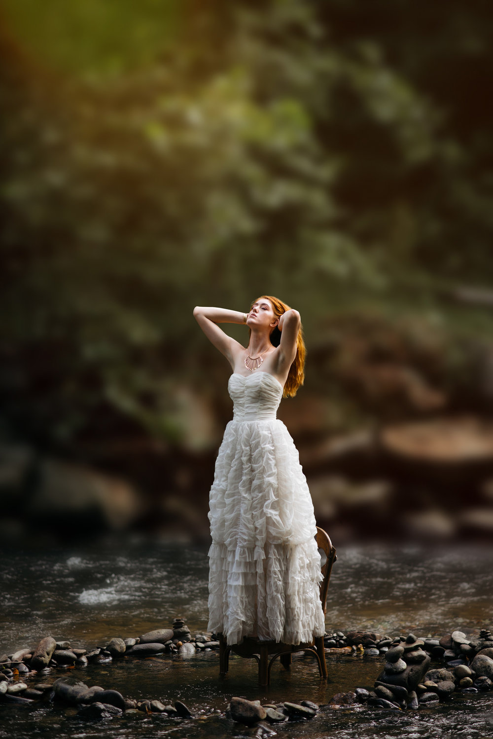 White vintage dress in the water by Sarah Hooker Photography