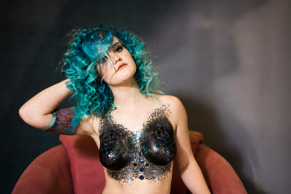 Galaxy Queen | Glitter Boobs by Brush Fire Artistry | Hair by Amber Yancey | Photographed by Sarah Hooker Photography | Model Kelly Grenvik