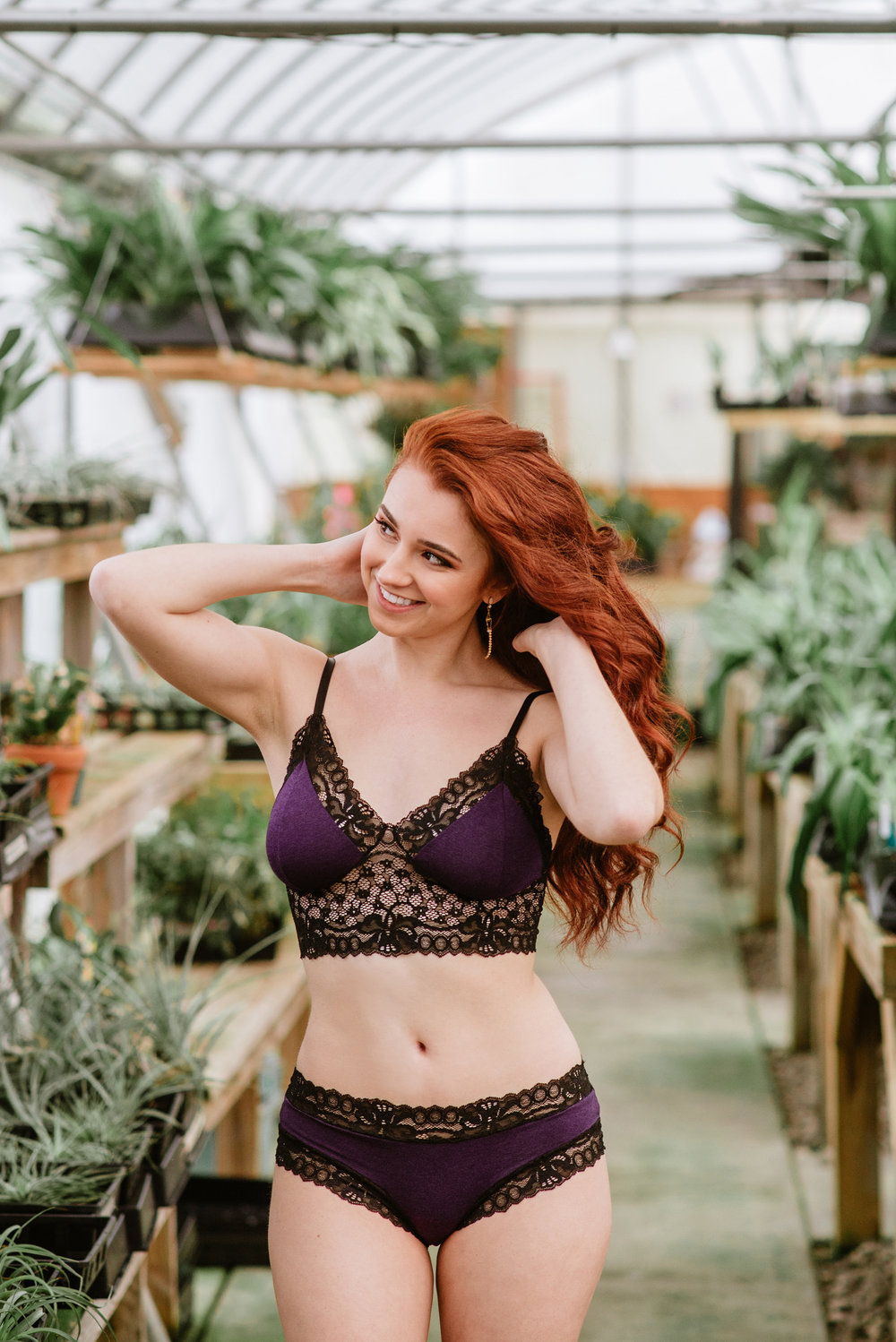 Greenhouse Boudoir Session by Sarah Hooker Photography at Appalachian Tropicals featuring On the Inside Lingerie