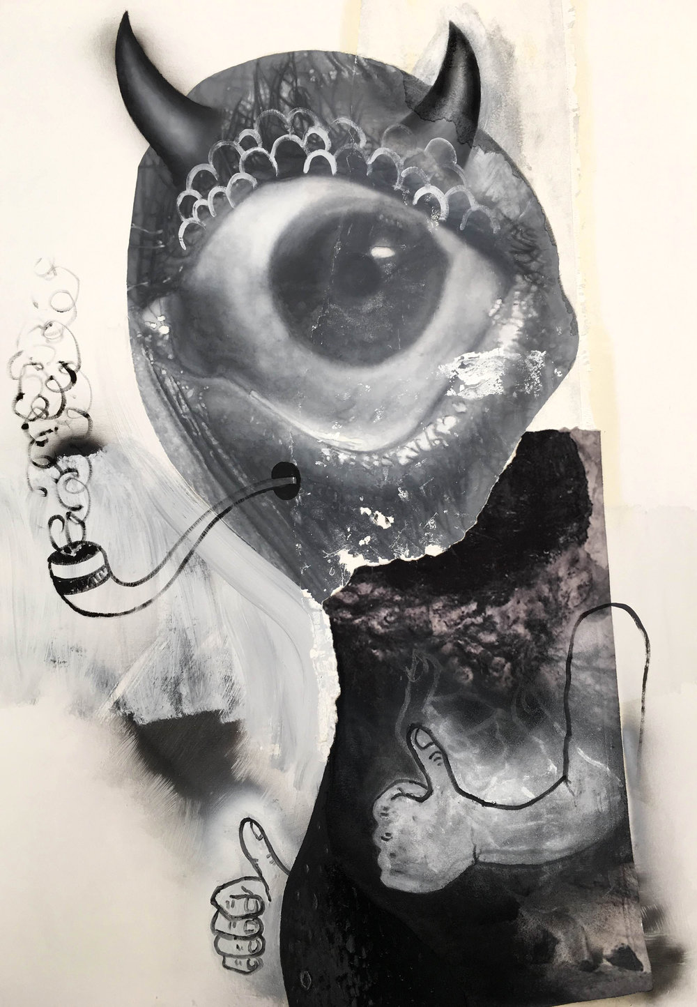 "Pipe Smoker (Cyclops) | 2016 | Oil, enamel, acrylic and fleece on canvas | 52"" x 36"""