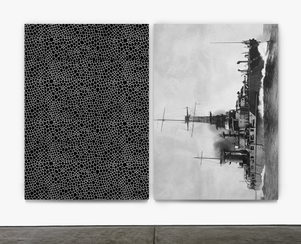 "Leviathan  2016 left panel, silkscreen on canvas, right panel, oil on canvas 68""x48"" each"
