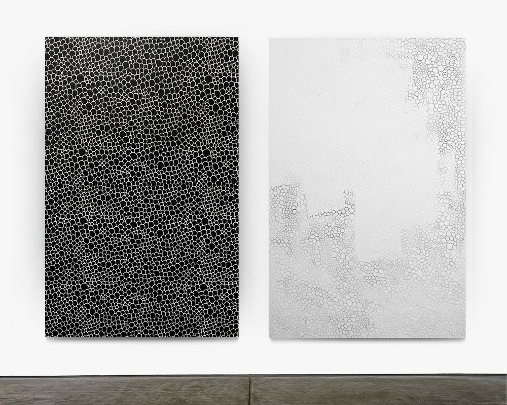"Untitled (Scales) Diptych 2017 enamel, gesso and silkscreen on canvas 72""x48"" each"