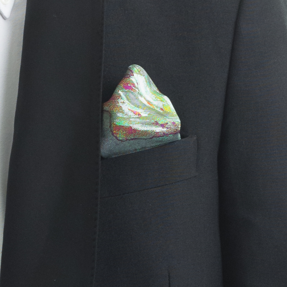 'SPRINGING TULIPS IX' SILK TWILL POCKET SQUARE, DETAIL