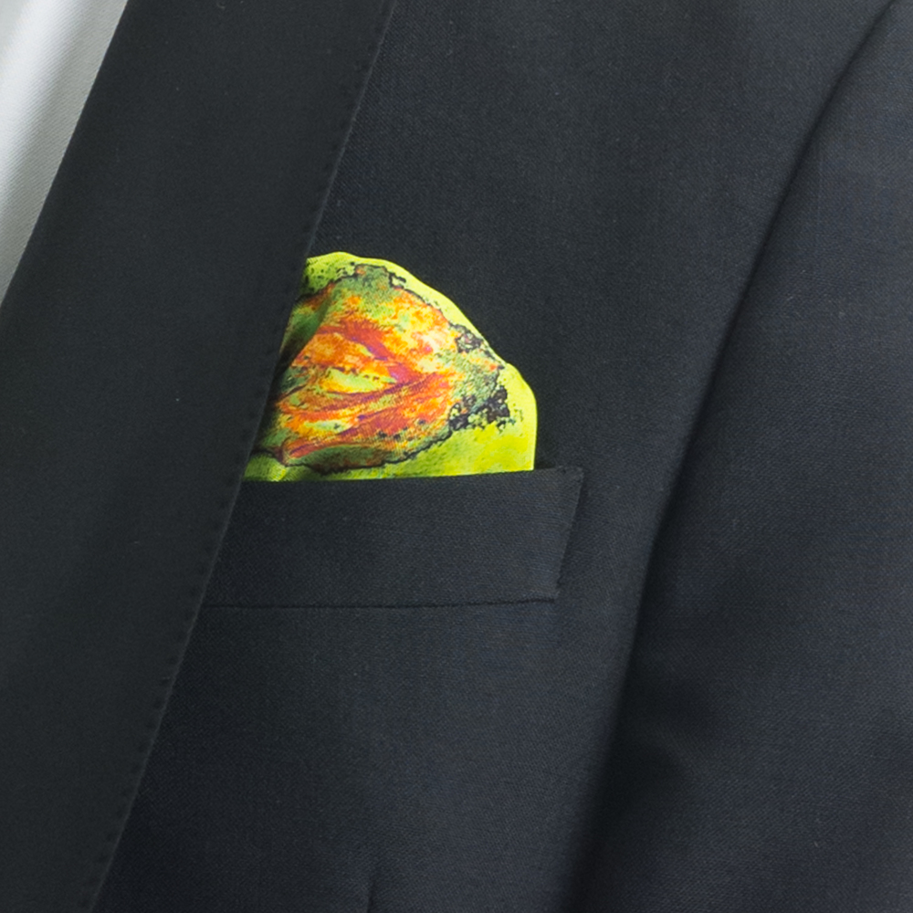 'SPRINGING TULIPS XIX' SILK TWILL POCKET SQUARE, 45X45CM