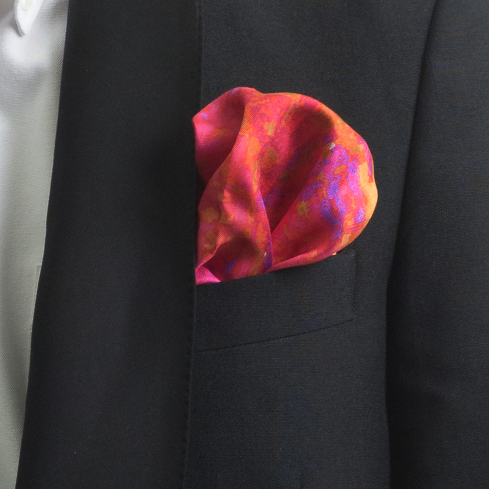 'MAD RED FLOWERS IV' SILK TWILL POCKET SQUARE, DETAIL