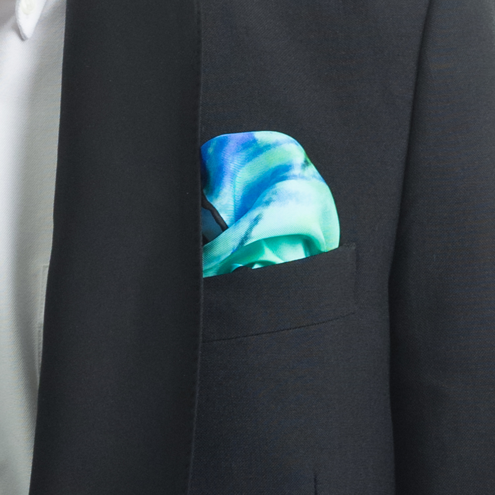 'TWIGGERY IV' SILK TWILL POCKET SQUARE, DETAIL