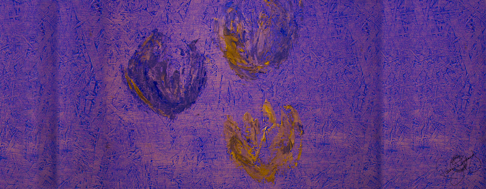 'FLOATING TULIPS', ROYAL PURPLE, VELVET, 180X65CM