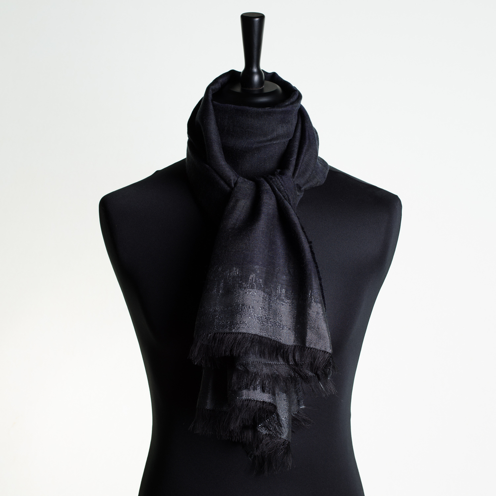 HOT CITY 'BLACK' LONG SILK AND CASHMERE SCARF