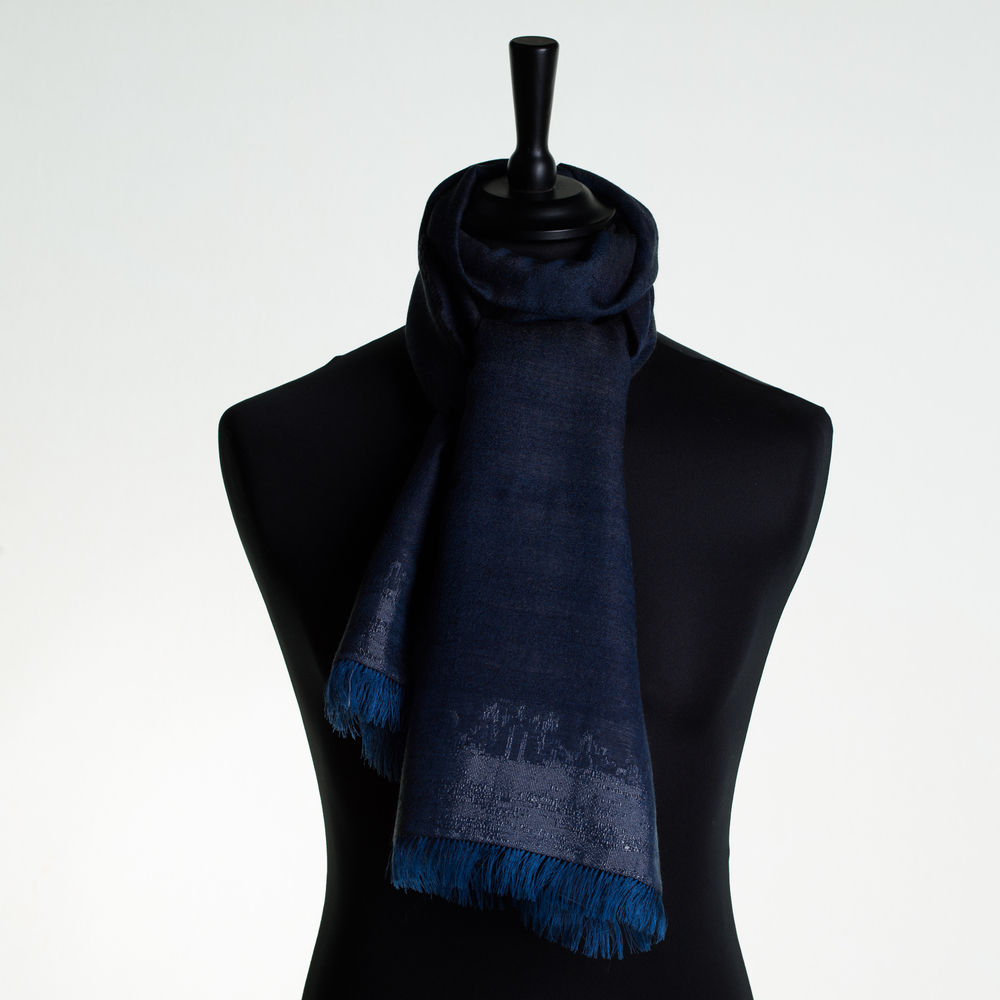 HOT CITY 'SKY' LONG SILK AND CASHMERE SCARF