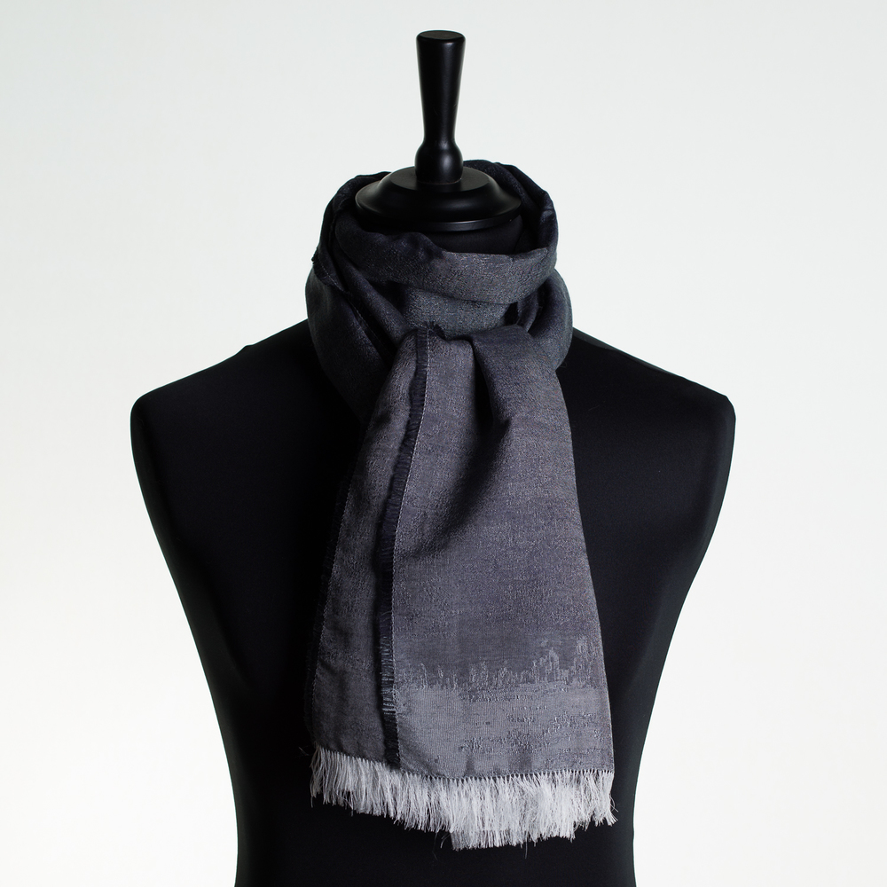 HOT CITY 'SILVER' LONG SILK AND CASHMERE SCARF