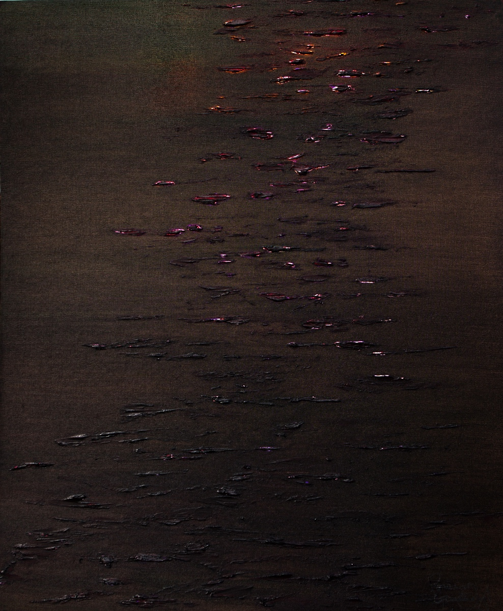 WATERLILIES - SUNSET Oil on Board 76cm x 88cm Framed £6,000