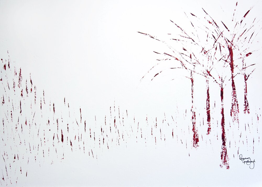 FROZEN TREES AND REEDS- £11,875 150cm x 110cm Framed Oil on Board